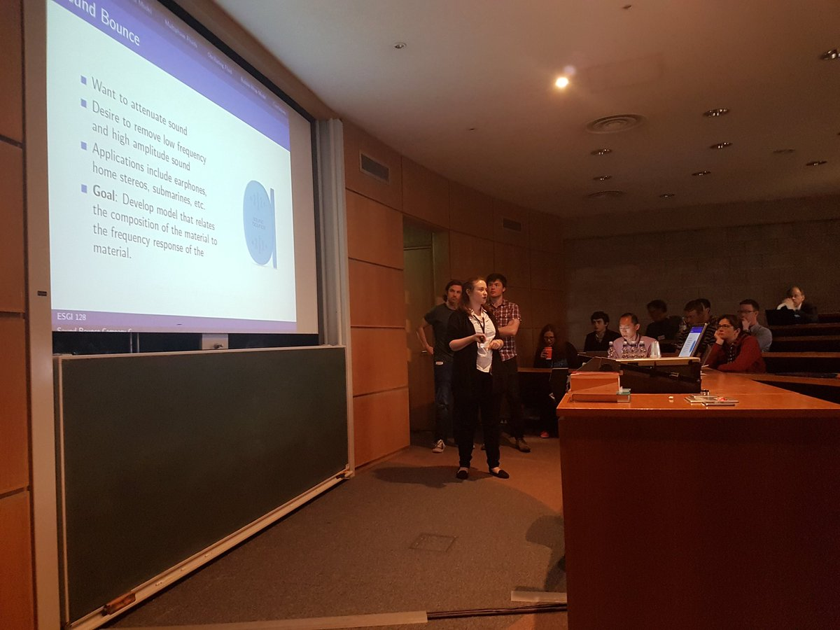 #esgi128 Participants from @MathsatBath @UCDMathStat &amp; MACSI  presenting the solution for waves propagating through a non netownian material<br>http://pic.twitter.com/xsk54HgtP7
