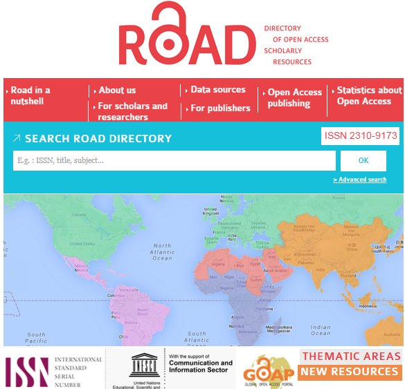ROAD : the  #Directory of  #OpenAccess  #Scholarly resources:  http:// bit.ly/2ro1wyt  &nbsp;  <br>http://pic.twitter.com/TCO1t9MukN