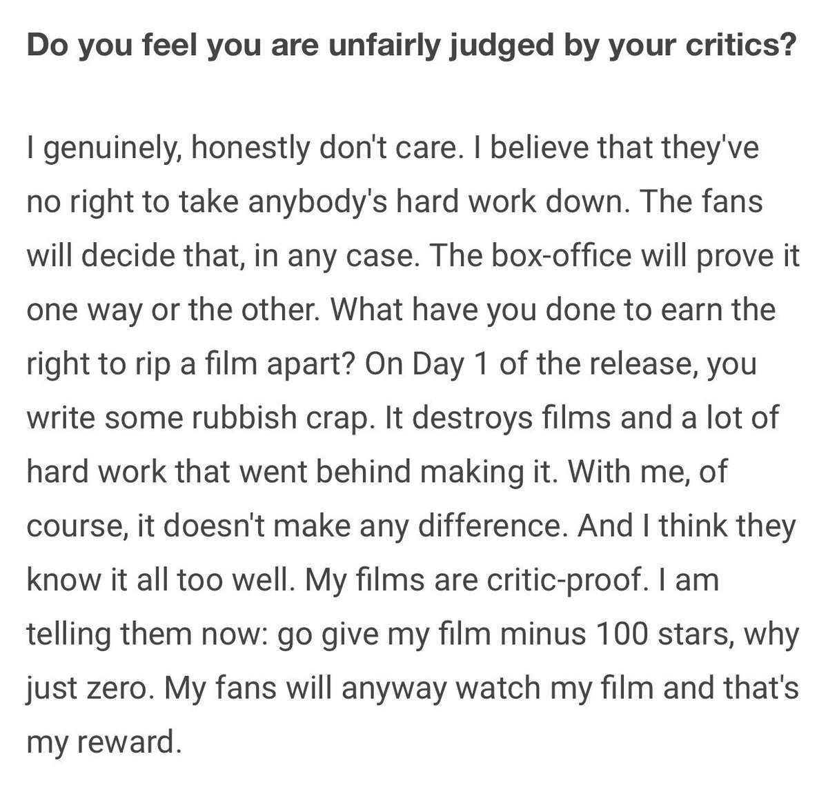 As honest as one can be! @BeingSalmanKhan hits out of the park!  #Tubelight