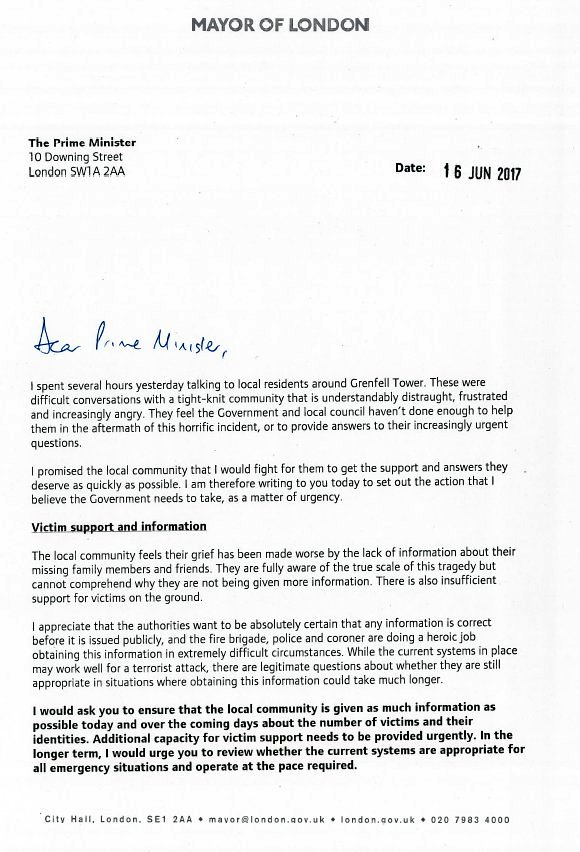 Sadiq khan on twitter my letter to the prime minister demanding my letter to the prime minister demanding answers action and justice for those affected by the grenfelltower fire expocarfo