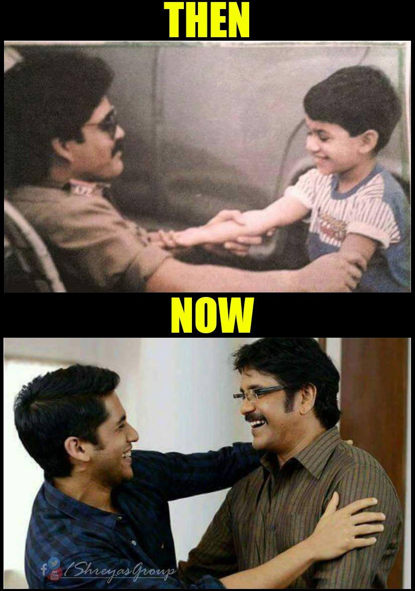 #FlashbackFriday Then and Now !! Same smile, same pose and same charm. #Father and #Son #Duo @iamnagarjuna @chay_akkineni<br>http://pic.twitter.com/Sglz4cy1QO