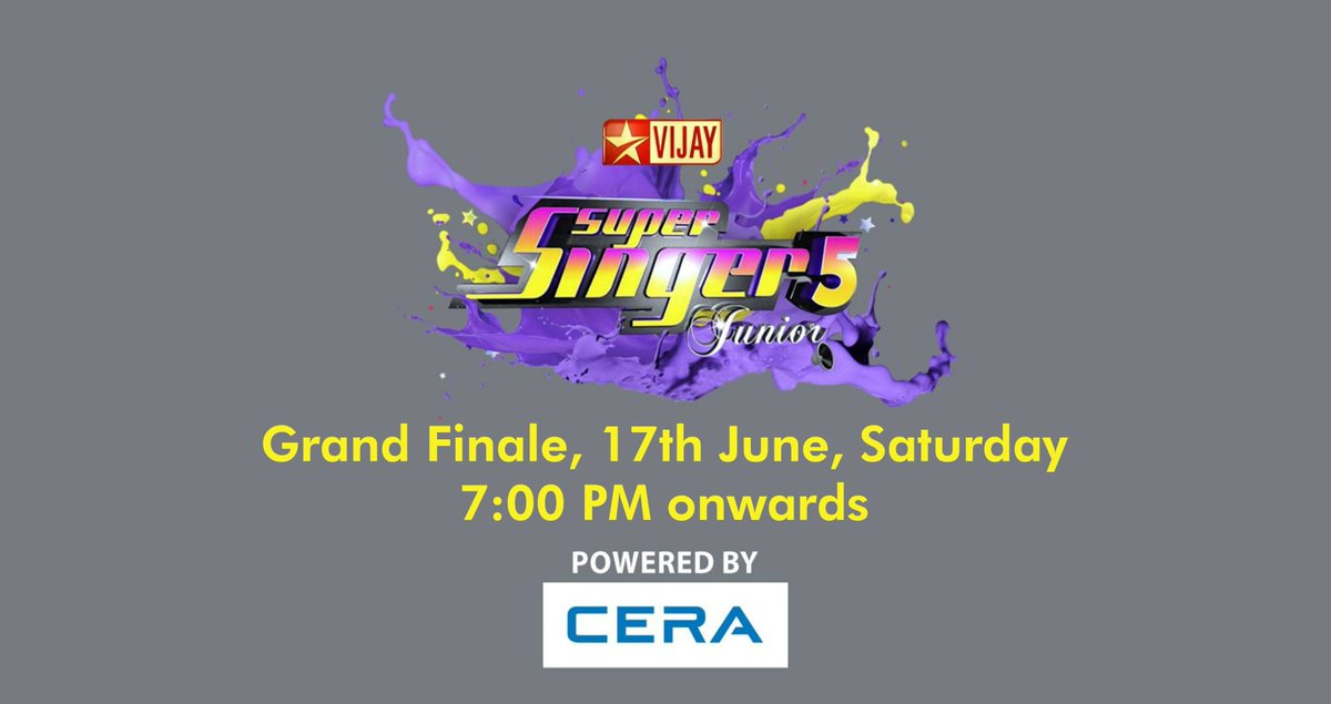 Weekend is here and so is the Grand Finale. Watch &#39;Super Singer 5 Junior' powered by #CERA only on #VijayTV. #ReflectsMyStyle<br>http://pic.twitter.com/IG2AvICRF3