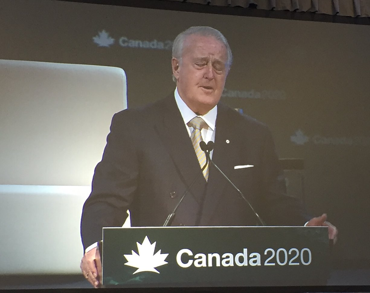 With passion, persuasion & perceptive quotes, former PM Brian Mulroney delivers a stirring speech on leadership & value of NAFTA @Canada2020 https://t.co/UVQb8m4PaX