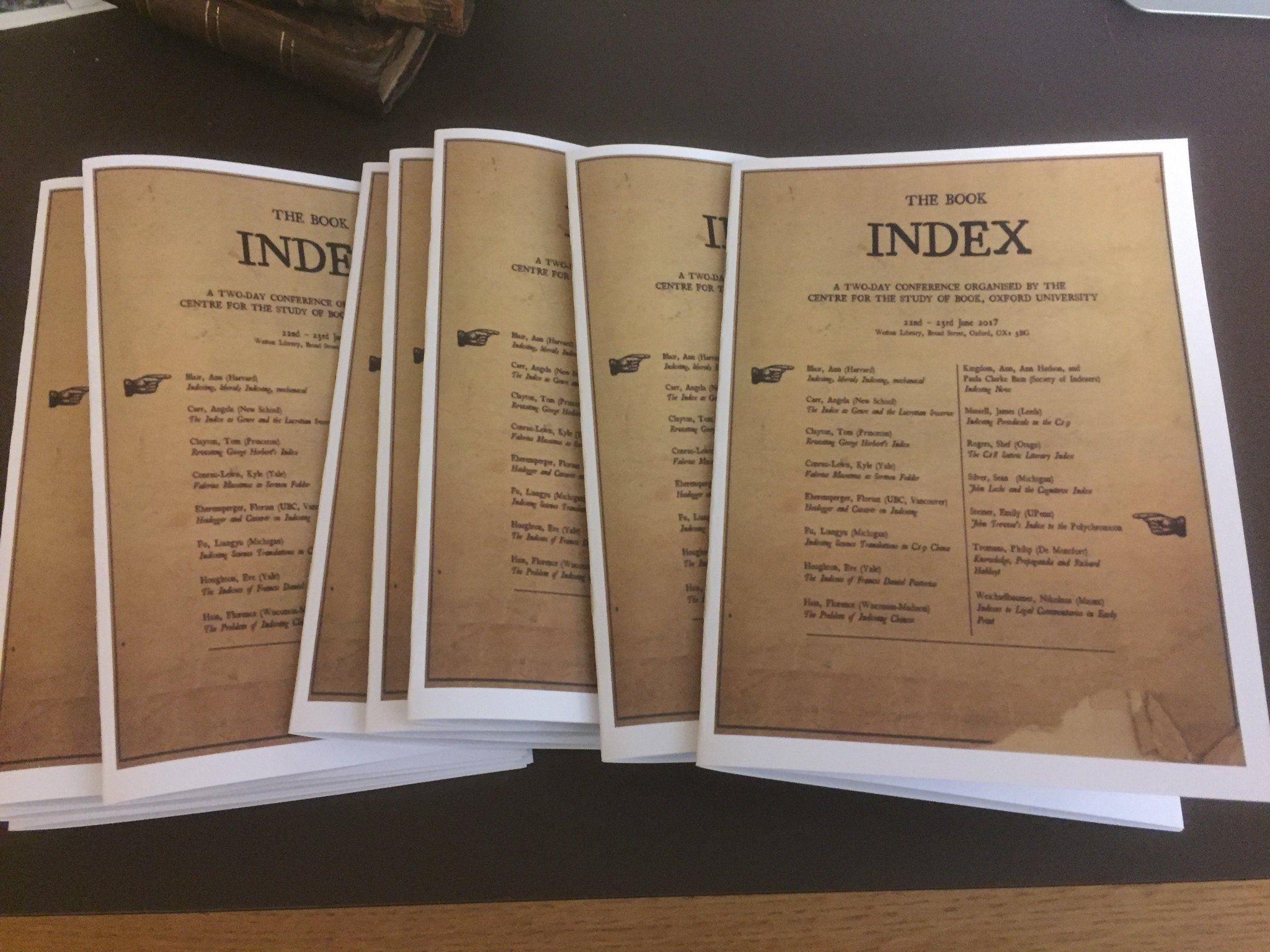 One week to go... The programmes have arrived! https://t.co/Cqp9bUSMes @bodleiancsb #bookindex17 https://t.co/A9U63INQDW