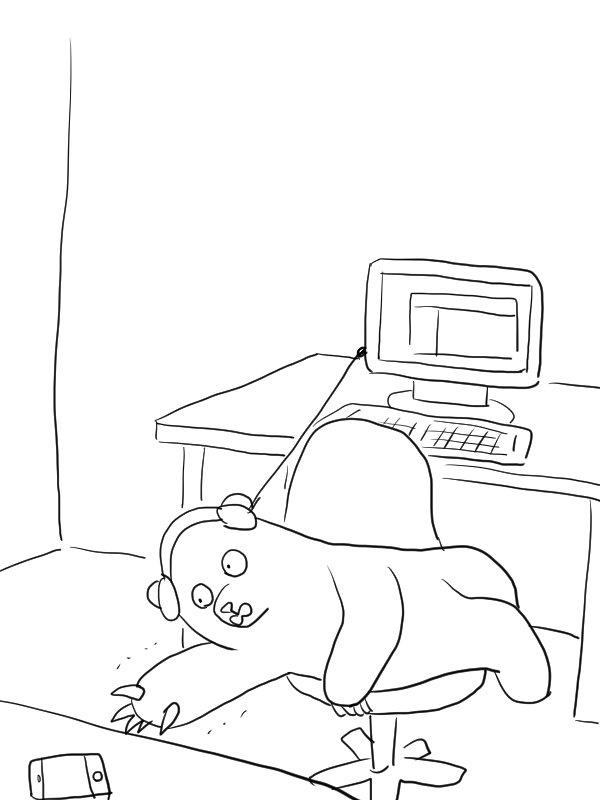 パソコンにヘッドホン挿して作業する人