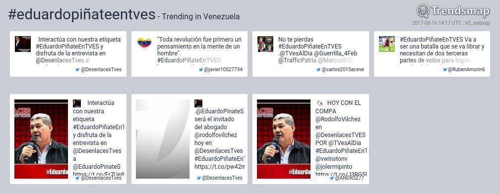 #eduardopiñateentves es ahora una tendencia en Venezuela  https://t.co/thBhVKV9iy https://t.co/WL42Y3pybU