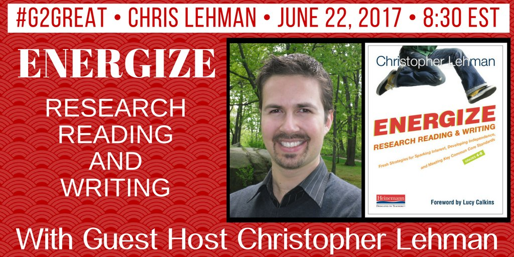 #G2great is excited to ENERGIZE research rdg/writing w/Chris tonight! @iChrisLehman @TheEdCollab @HeinemannPub Alert https://t.co/3fhVe5dfHf https://t.co/66RWP5GUkm