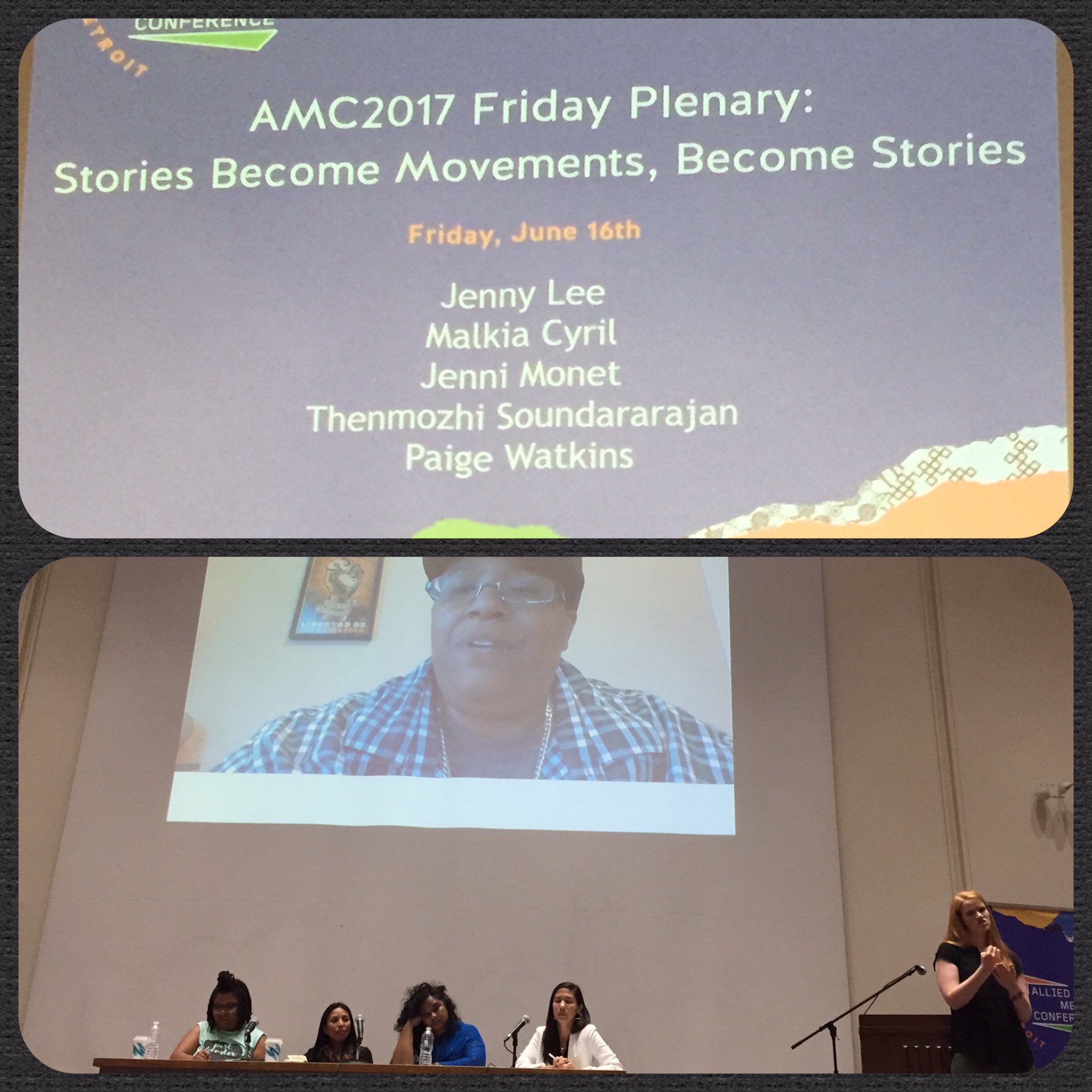"Inspiring panelists & stories @ opening plenary, exactly what I needed. ""stories are the medicine we need"" @dalitdiva #amc2017 #AMC2017 https://t.co/FqNjlIR23r"