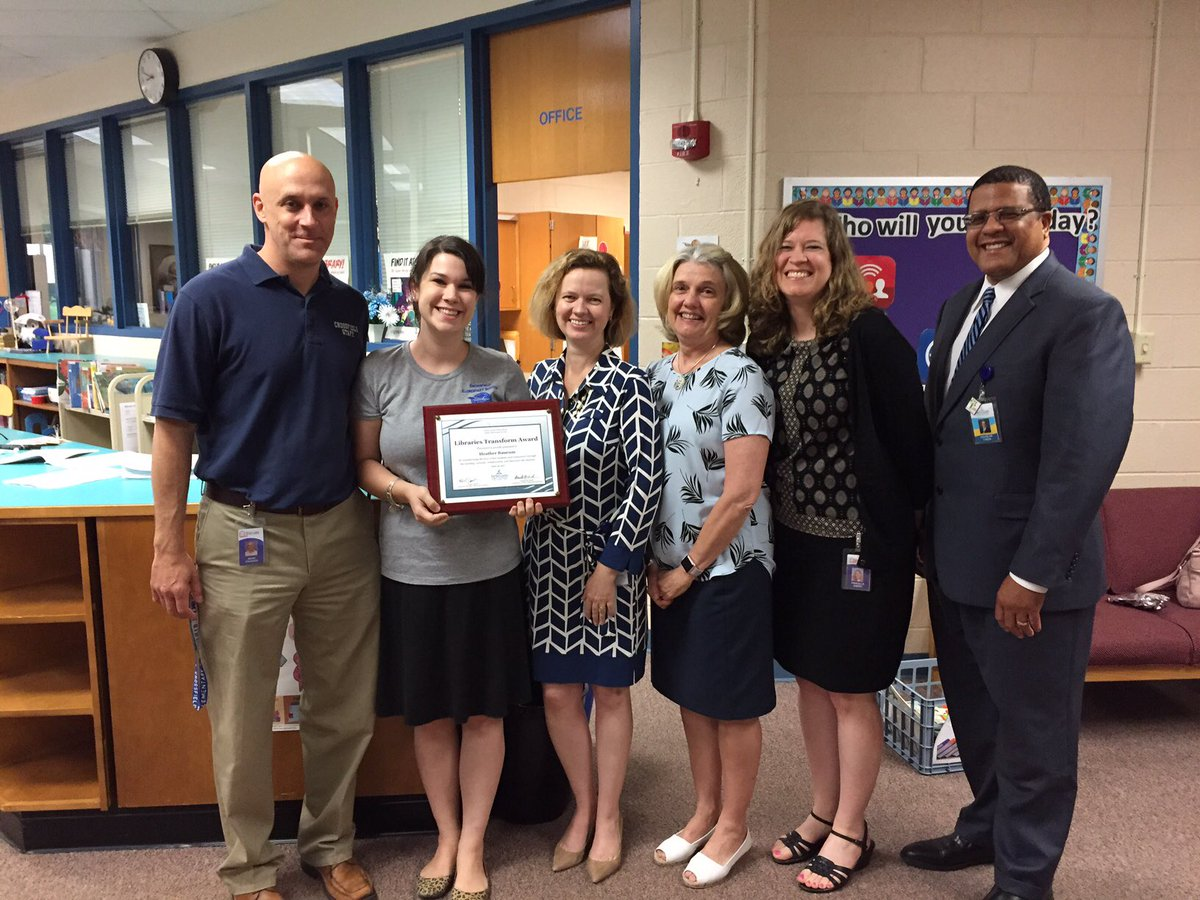 A Scott Crossfield On Twitter Congratulations To Mrs Heather Baucum For Receiving The Libraries Transform Award All Of FCPS Elementary Schools