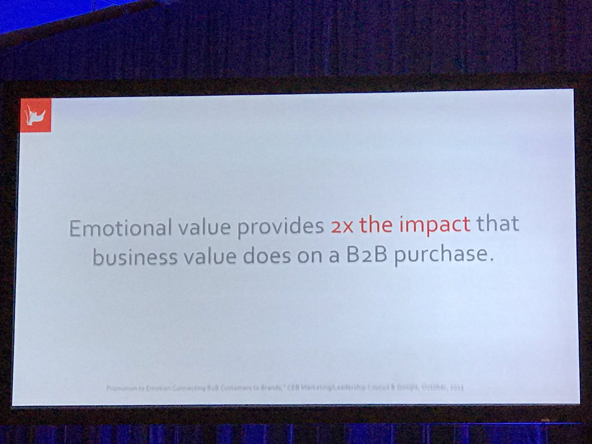 The meat of the #marketing matter EMOTIONAL VALUE has 2x the impact of the BUSINESS VALUE on a b2b purchase. I cried @dgreenwald #BrandHIT <br>http://pic.twitter.com/UnNR9DMvB5