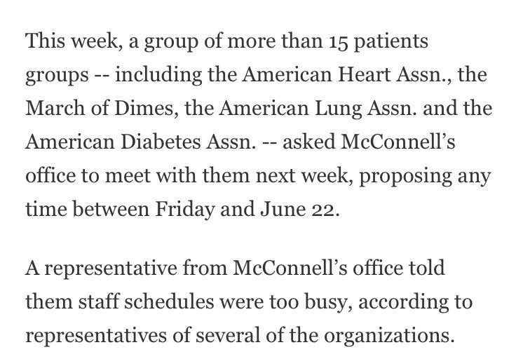 Per @NoamLevey, McConnells office is refusing meetings with major patient advocacy groups.