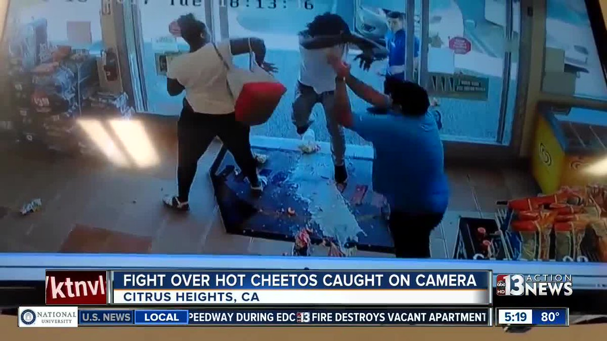 Fight over Hot Cheetos caught on camera  https://t.co/X9lGlFKZme