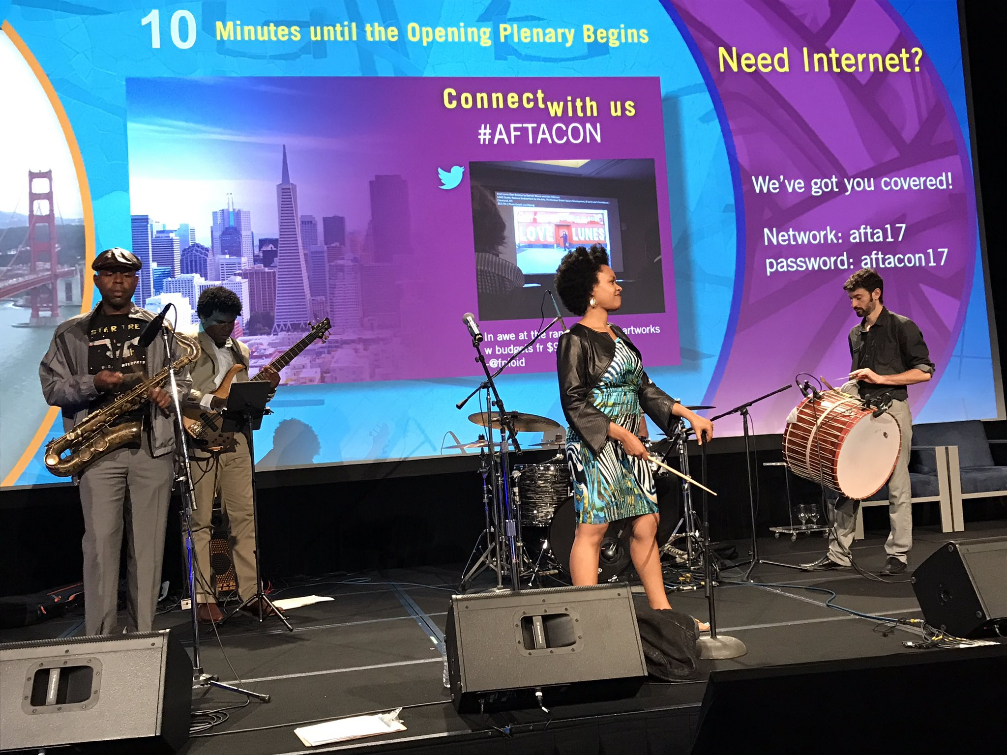 It's sound check time for the opening session of #AFTACON with @meklitmusic https://t.co/3c9ZlLaDq5