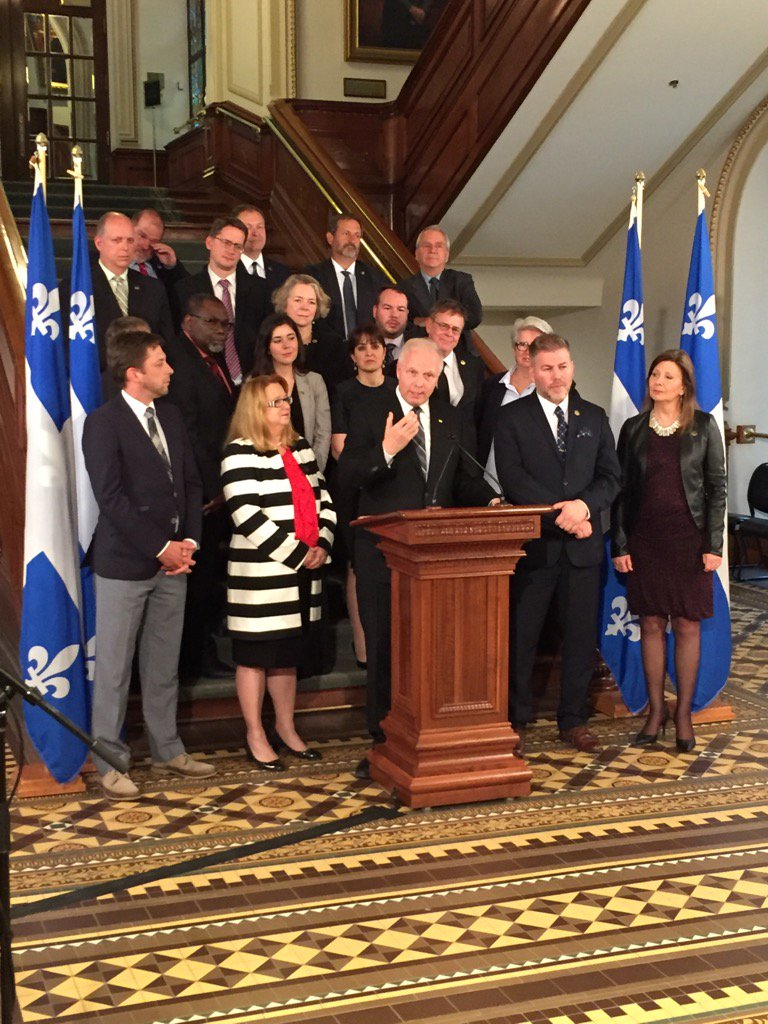PQ leader @JFLisee and team hold end of session news conference. #AssNat <br>http://pic.twitter.com/IWSwHnjKGD
