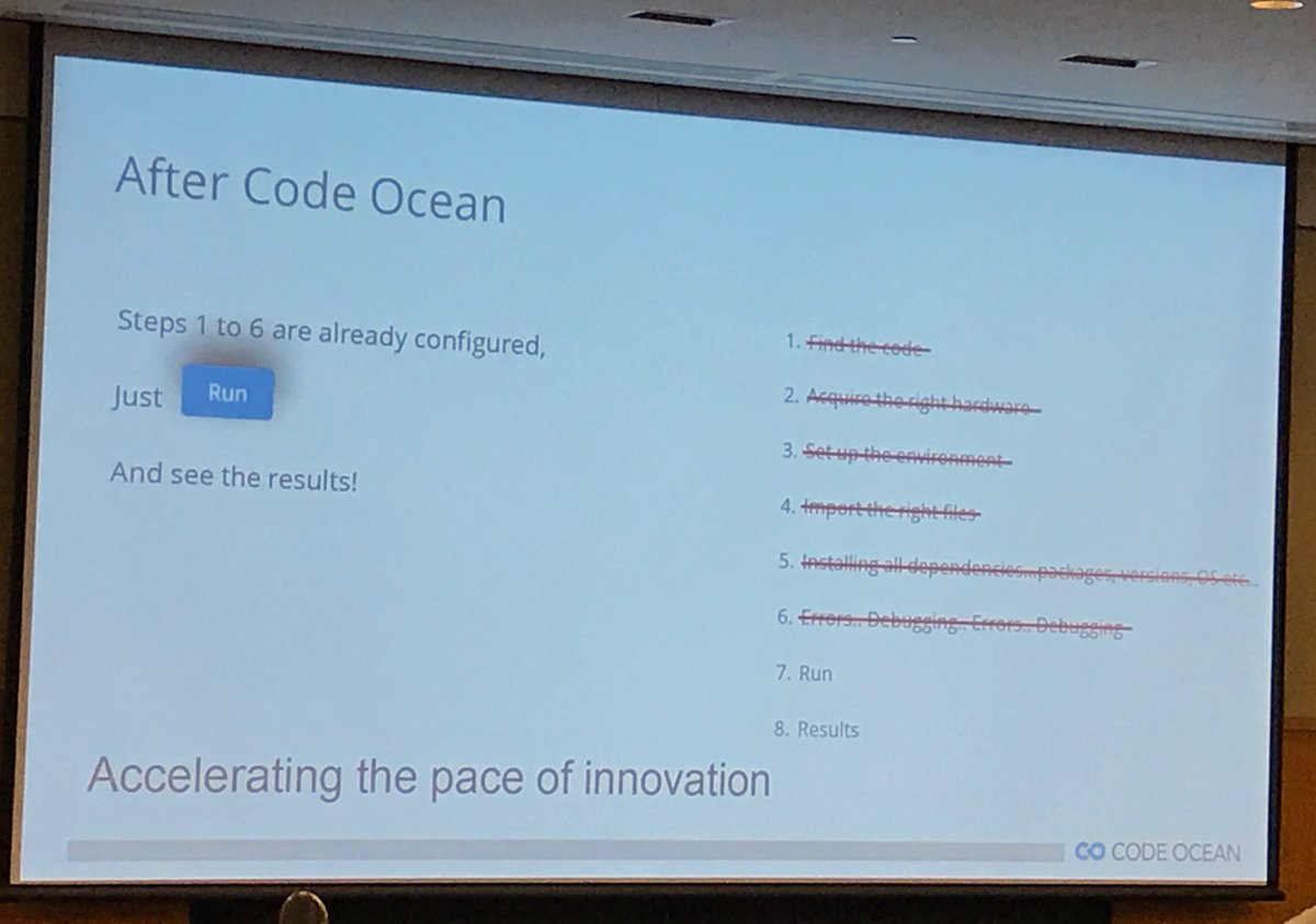 Promoting #integration &amp; #reproducibility where code data &amp; results itself inside a #docker container #dataverse2017 @CodeOceanHQ<br>http://pic.twitter.com/RhlkHfyn1C