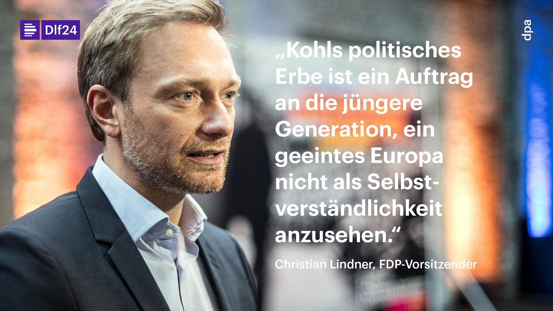 Der FDP-Vorsitzende Lindner hat den gestorbenen Altkanzler Kohl als Architekten eines vereinten Europas bezeichnet https://t.co/jixe4EVxWu https://t.co/wJPn2VmIgf