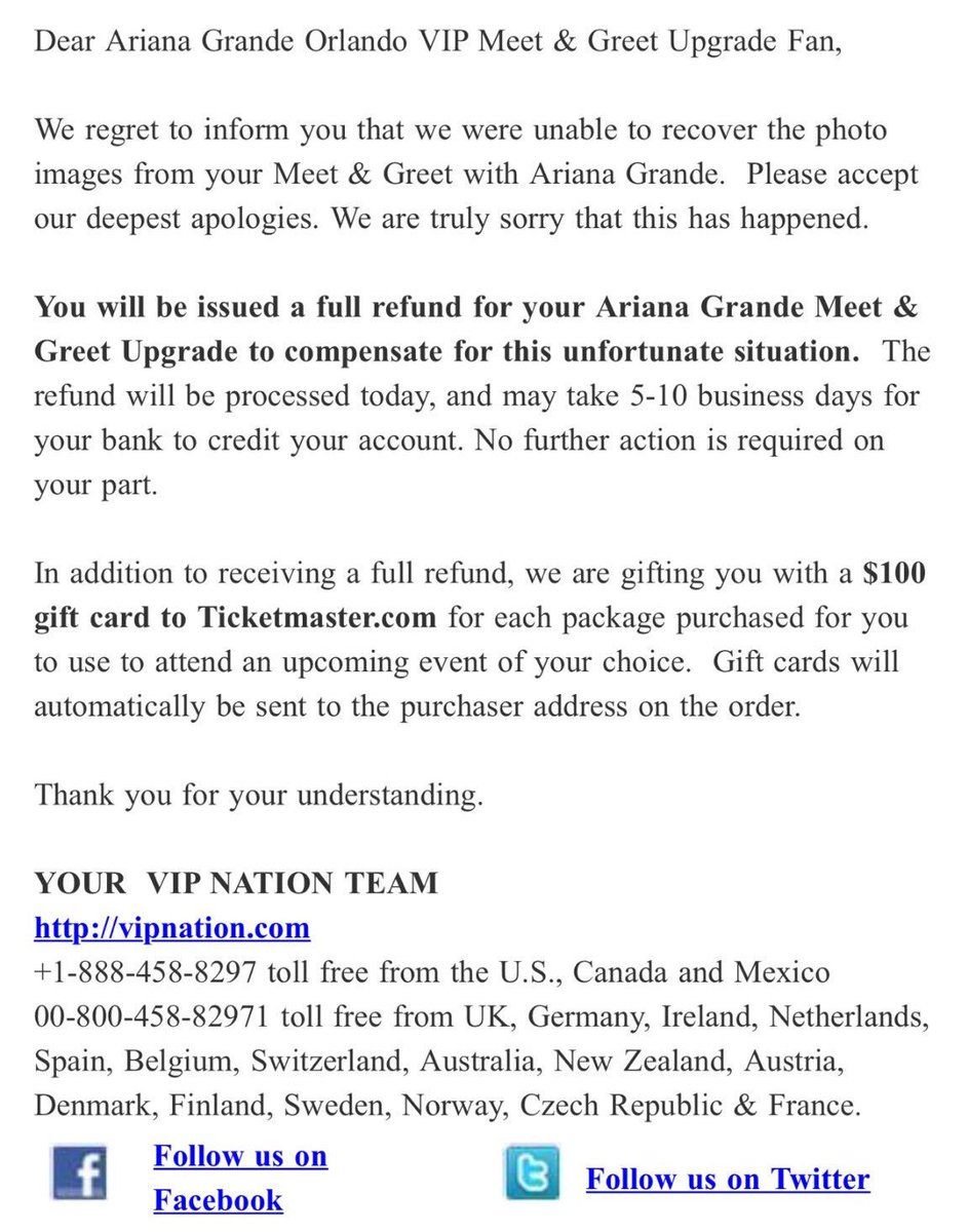 Ariana grande today on twitter unfortunately mg pictures for the ariana grande today on twitter unfortunately mg pictures for the dwtorlando have been lost vip nation is offering a full refund and a 100 gift card m4hsunfo