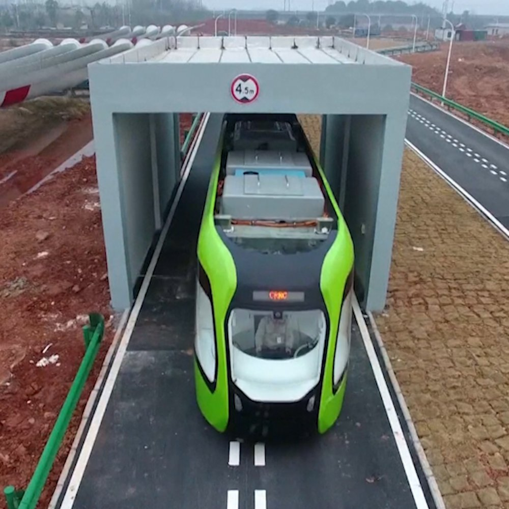 China is testing a train that runs on a virtual track