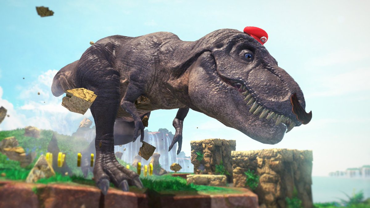 Mario throws hat to become T-Rex. T-Rex arms can't reach hat! GAME OVER