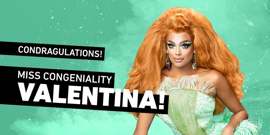 Condragulations on winning Miss Congeniality @AllOfValentina!!!  #DragRaceReunited <br>http://pic.twitter.com/z3aFcHeEHl