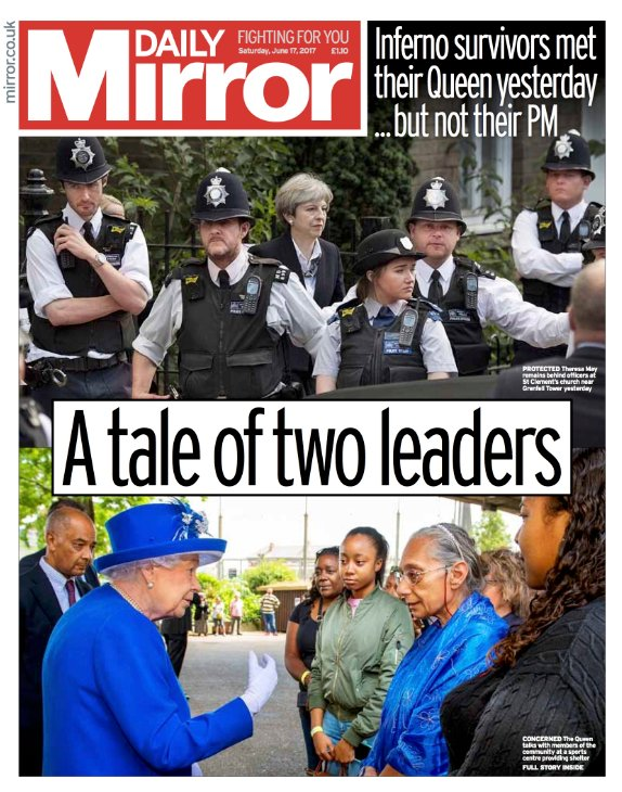 DAILY MIRROR FRONT PAGE `A Tale Of Two Leaders`#skypapers