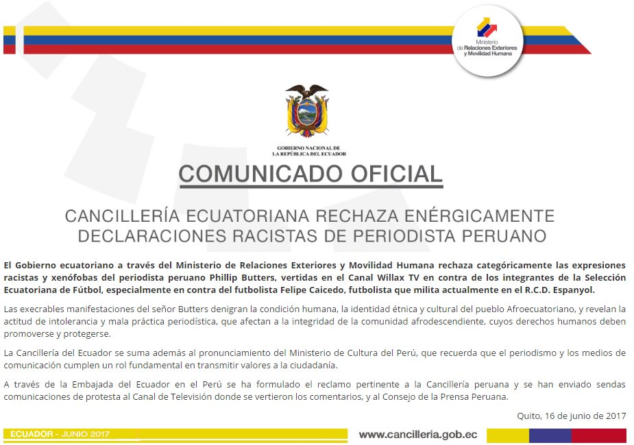 Comunicado de Cancillería del Ecuador rechazando dichos racistas contra seleccionados nacionales