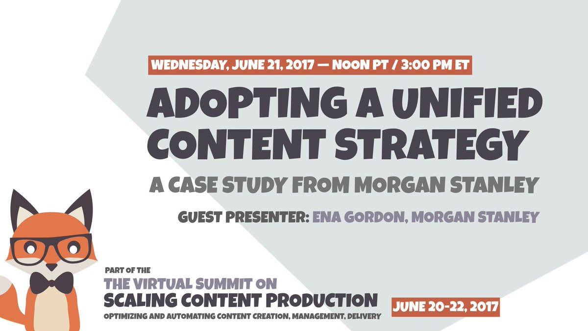 [June 21 Webinar] CASE STUDY: @MorganStanley Adopting a Unified #ContentStrategy w/ Ena Gordon  https://www. brighttalk.com/summit/virtual -summit-scaling-content-production &nbsp; … <br>http://pic.twitter.com/9DSmlYVwCP