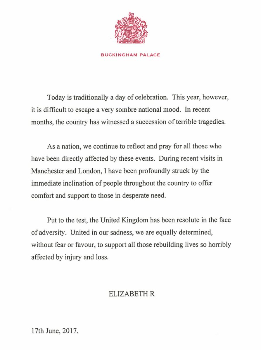 A message from The Queen on Her Majesty's Official Birthday. https://t.co/vaKt5qj7IZ https://t.co/Tv7t9aB3PV