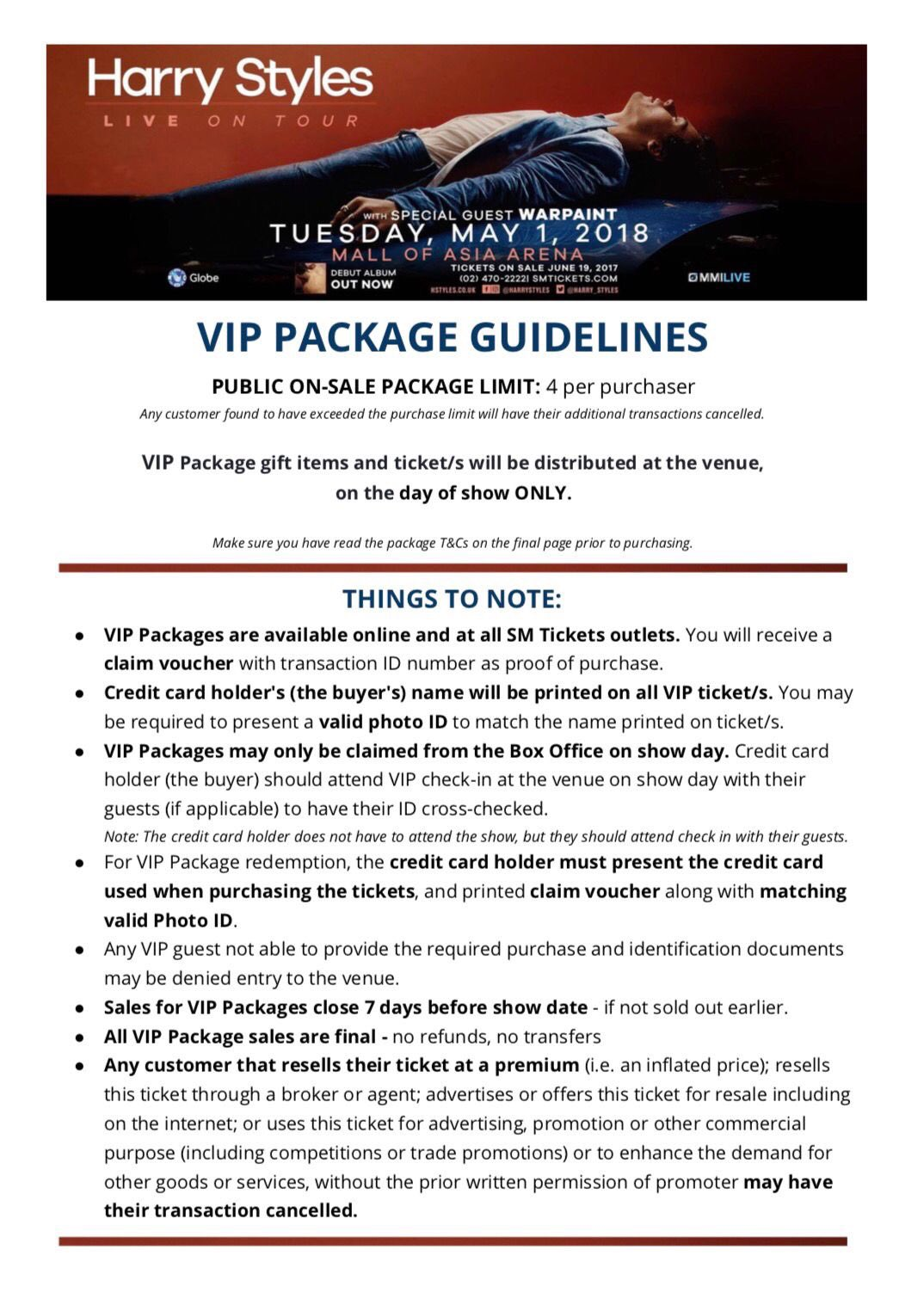 Harry Styles Ph On Twitter Vip Package Guidelines Terms
