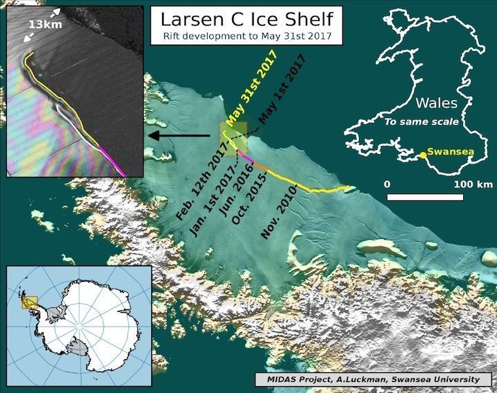 The Larsen C crack is in its final stages and will soon cleave off a huge iceberg  http:// buff.ly/2taXDOK  &nbsp;   <br>http://pic.twitter.com/dfGjBDgpsA #Climat…