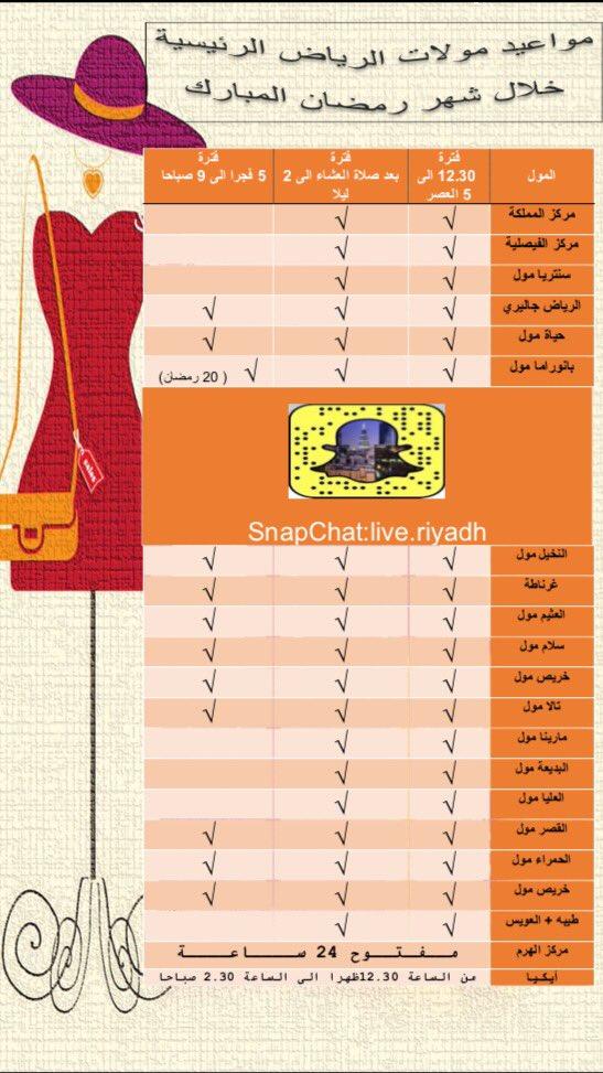 مواعيد المولات في رمضان الرياض