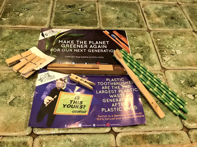 Thank you @bambooindia! A MUCH needed innovation. #BambooToothbrush #BambooStraws #BrushPollutionAway