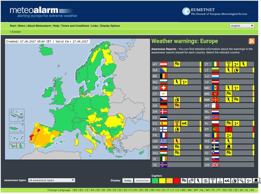 #OrangeAlert  #Wind inGermany #Thunderstorms inGreece #ExtremeHighTemperature inPortugal and,Spain #SevereWeather #SMEM #RSGE #MSGU <br>http://pic.twitter.com/BF7vUveee2