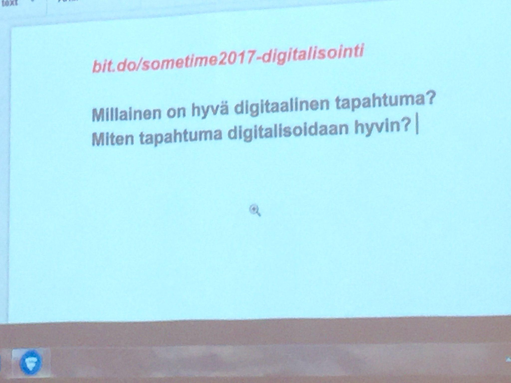 Tapahtuma ja #digitalisaatio: @jarmolahti teki yhteisöllisen dokumentin. Mene ja osallistu pohdintaan!  #SomeTime2017 #visitkimitoon https://t.co/iS9lOftYMG