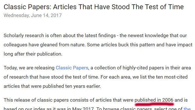 Google Scholar released &quot;Classic Papers&quot; ... papers published in 2006 (!) #GoogleScholar <br>http://pic.twitter.com/wR8l1SprC0