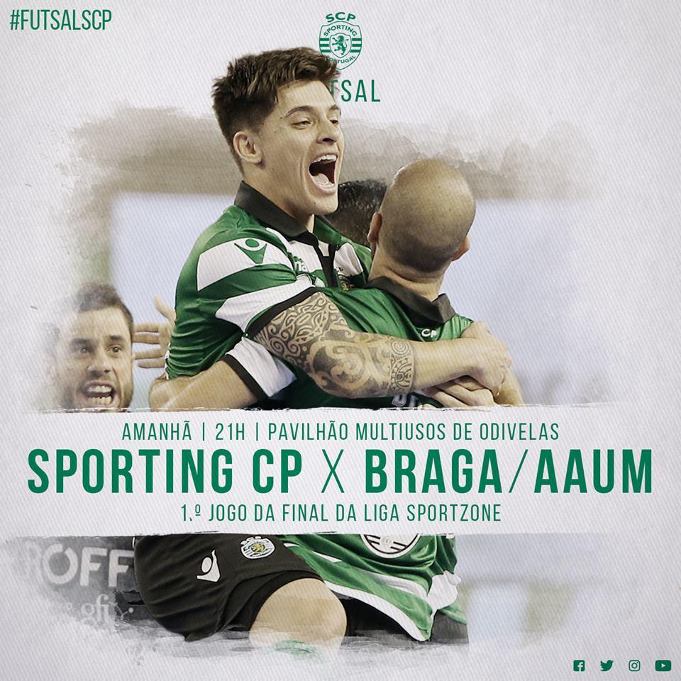 Amanhã, todos os caminhos vão dar a Odivelas!   Vamos, Leões! 💪  🏆 1.º jogo Final - Liga SportZone ⌚️ 21h ⚽ Sporting CP 🆚 SC Braga 📺 TVI 24