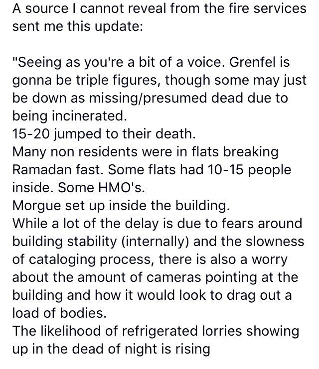 Just got this from a credible source on FB #GrenfellTower #JusticeForGrenfell https://t.co/E8RI1asIwS