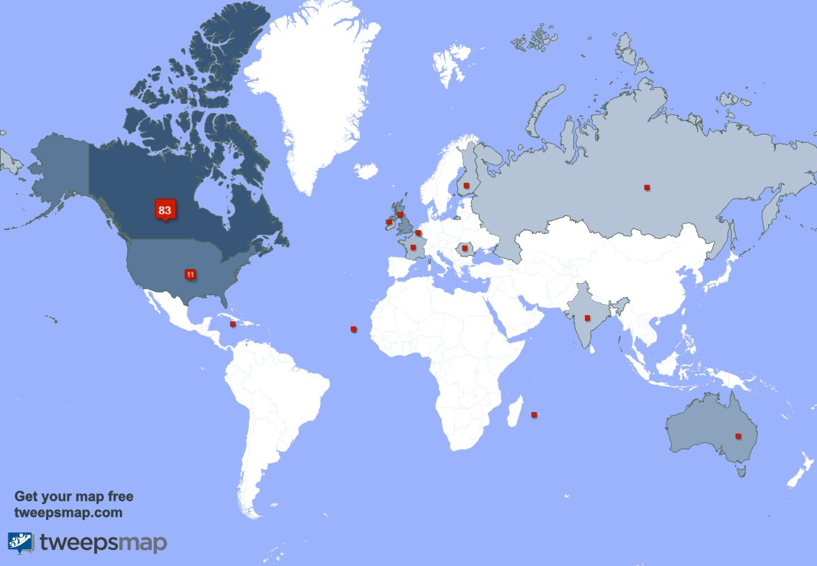 My followers live in 14 countries: Canada(82%), USA(11%)... https://t....