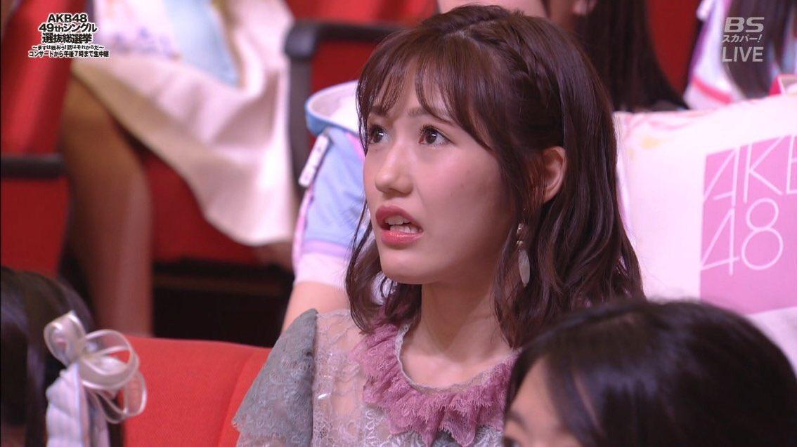 選抜総選挙で須藤凛々花の結婚発表を受けた時の渡辺麻友の画像