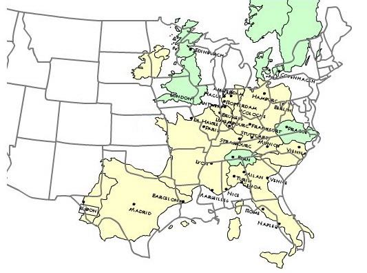 OnlMaps on Twitter Western Europe over eastern US map maps
