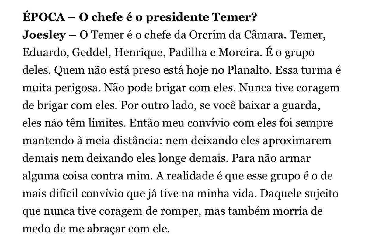 'Temer é o chefe da quadrilha mais perigosa do Brasil', diz Joesley em entrevista à @RevistaEpoca. Abaixo destaco os principais trechos 👀