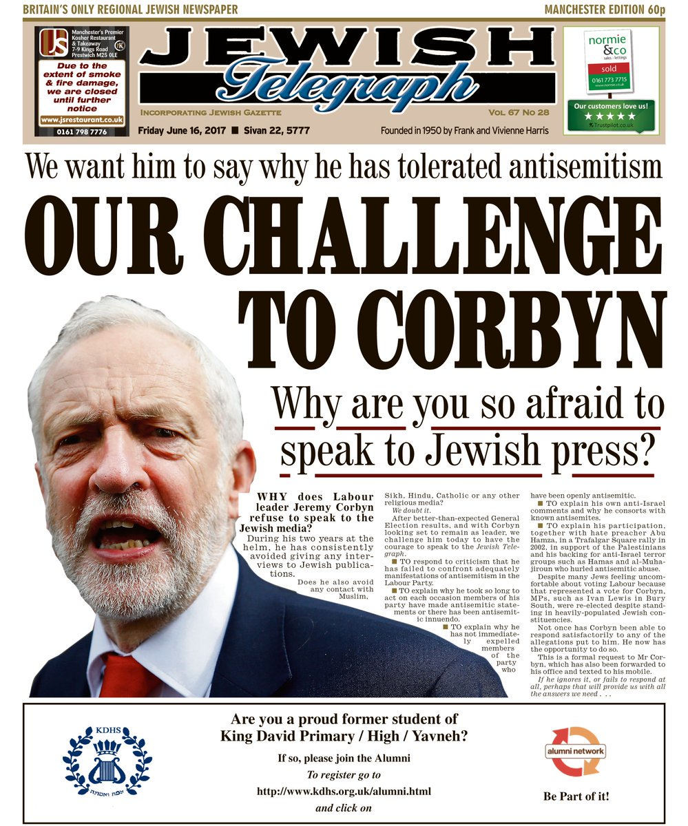 #ANTISEMITIC #JeremyCorbyn and #ISRAEL hating #Labour Leader refuses to talk to the #Jewish #Press! #COWARD #BBC #SKY #UK #NEWS #LABOURPARTY<br>http://pic.twitter.com/wWjPHQdhtZ