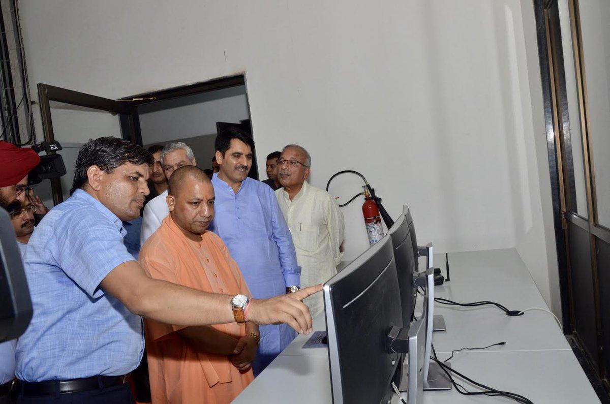 Shankar Chaudhary hosts Yogi Adityanath at Banas Dairy plant in Uttar Pradesh
