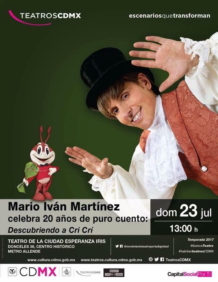 ¡Todos, todos tomen nota!  23 julio 13 hrs en el Teatro de la Ciudad Esperanza Iris Mario Iván Martínez #LaGuíaCDMX #MarioIvánMartínez https://t.co/Rd6V4uCcDv