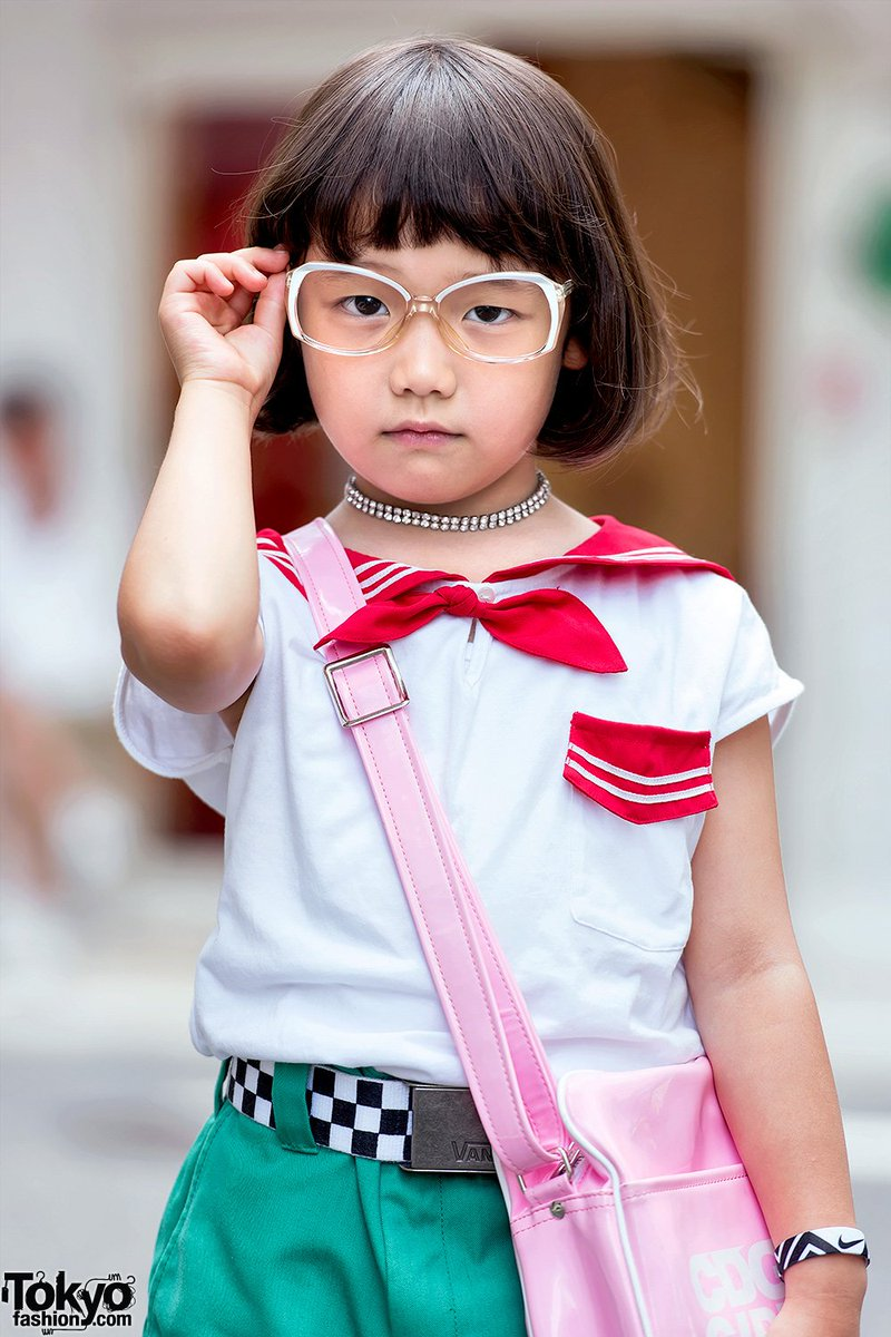 6 Year Old Japanese Street Style Icon Coco In Harajuku W Sailor Top Dickies Comme Des Garcons