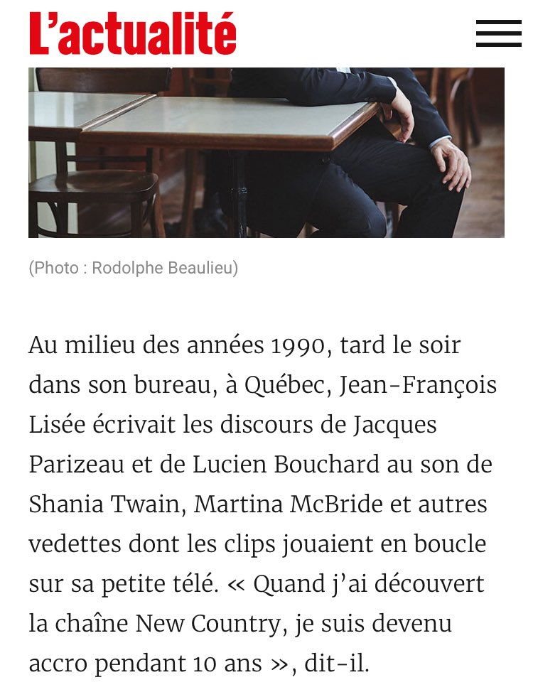 One thing I learned @JFLisee and I have in common after reading this profile: we&#39;re both @ShaniaTwain fans  #polqc #music #politics<br>http://pic.twitter.com/XQvoO4fFj9