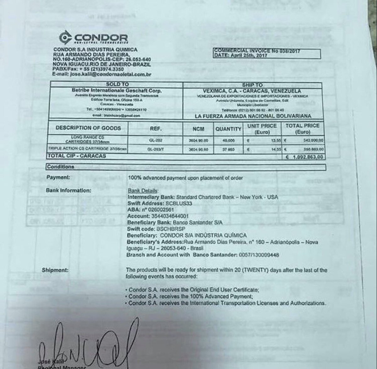René Rincón On Twitter While Idiots Of Condor Brasil Teargas To Venezuela Dictatorial Regime 1m Euros Aviancabrasil Refuses Transport The