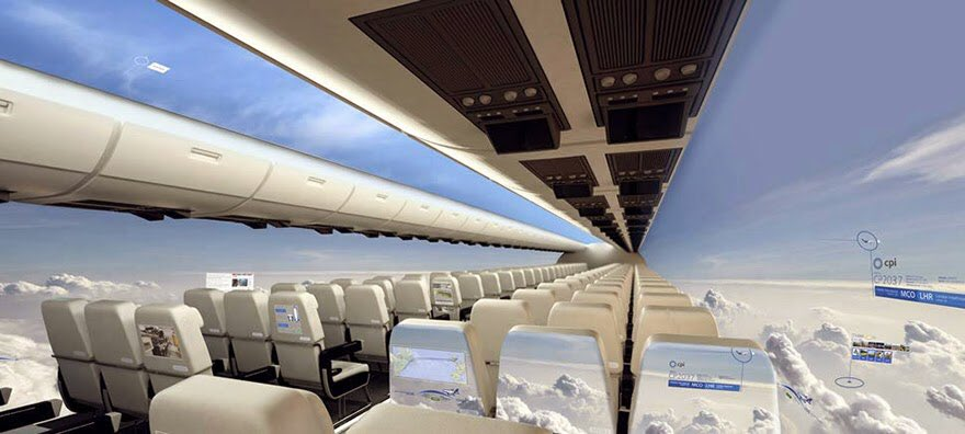 Is this the future? CPI says in 10 years windowless planes will give passengers a 360 view of the sky. #Travel #plane #traveltech<br>http://pic.twitter.com/0CSNRWBtIM