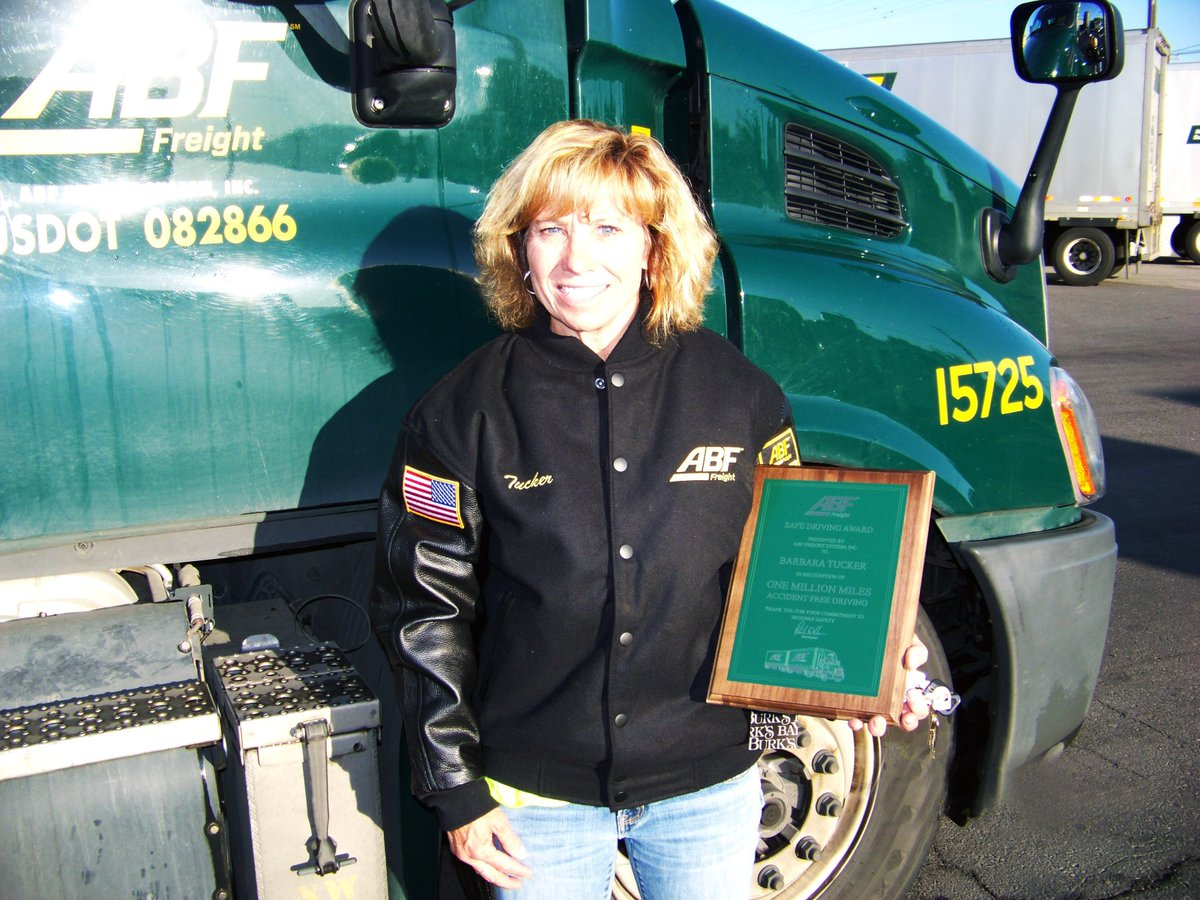 "ABF Freight on Twitter: ""Congratulations to ABF Freight driver Barbara Tucker of Green River, Utah, for 1 million miles of accident-free driving!"