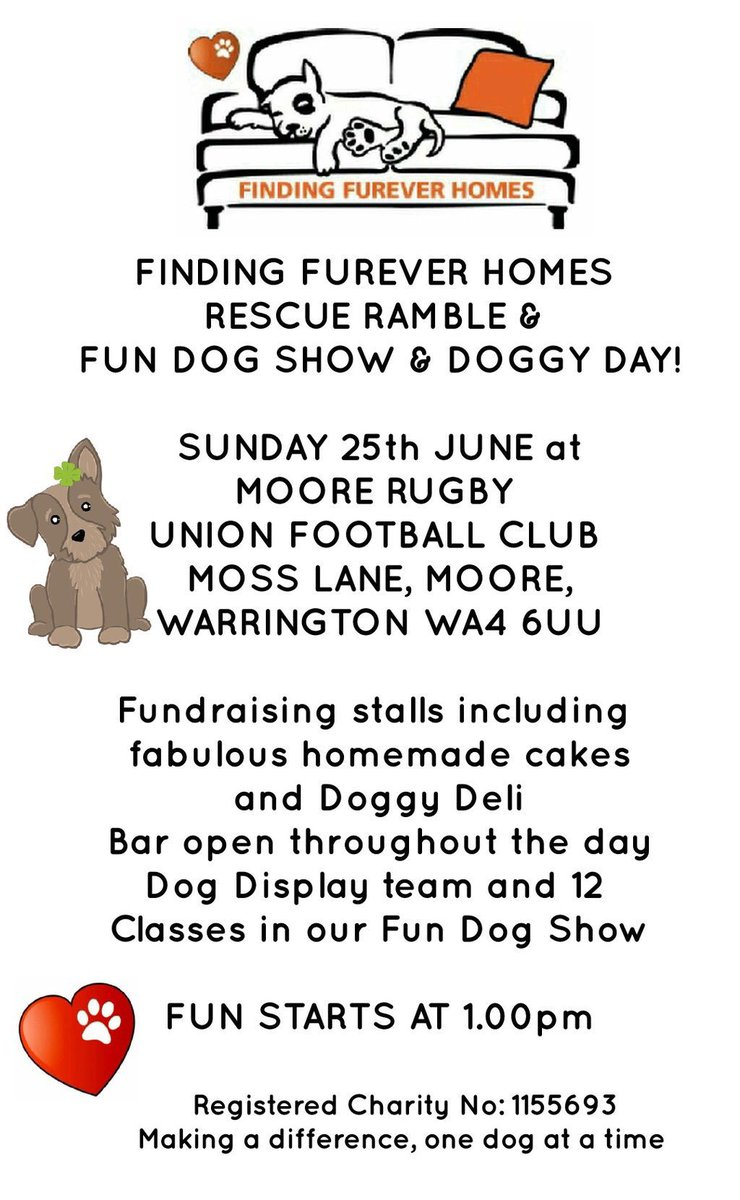 #Warrington #Moore RUFC #FFH Annual Rescue Ramble Sunday 25th June costs a fiver a fambly #Doggy Deli #Fun Dog Show n so much more inc, <br>http://pic.twitter.com/5dnrJK2mlI